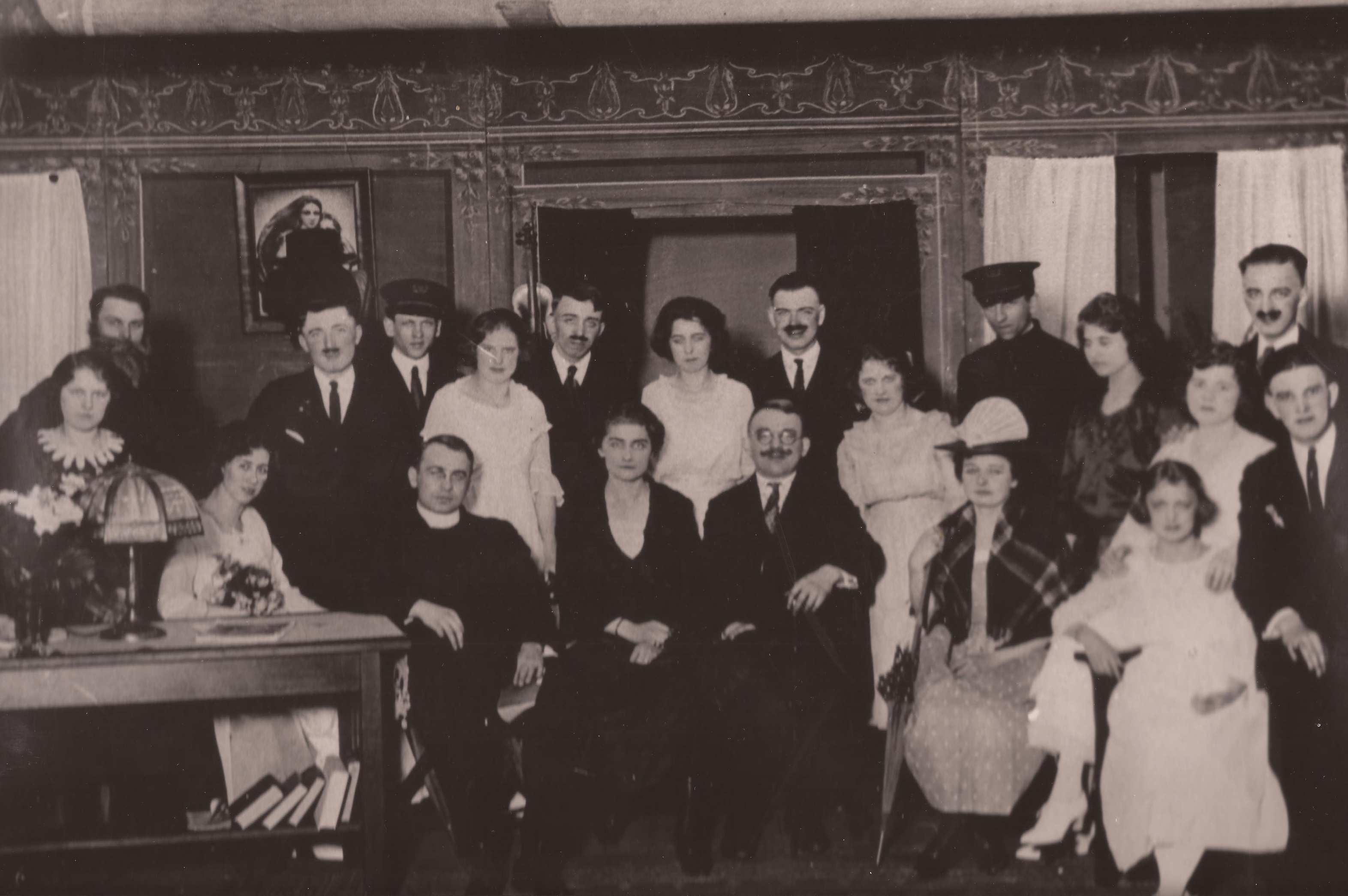 Polish Dramatic Society, 1920. The dapper mustachioed gent at center is John C. Bambenek.