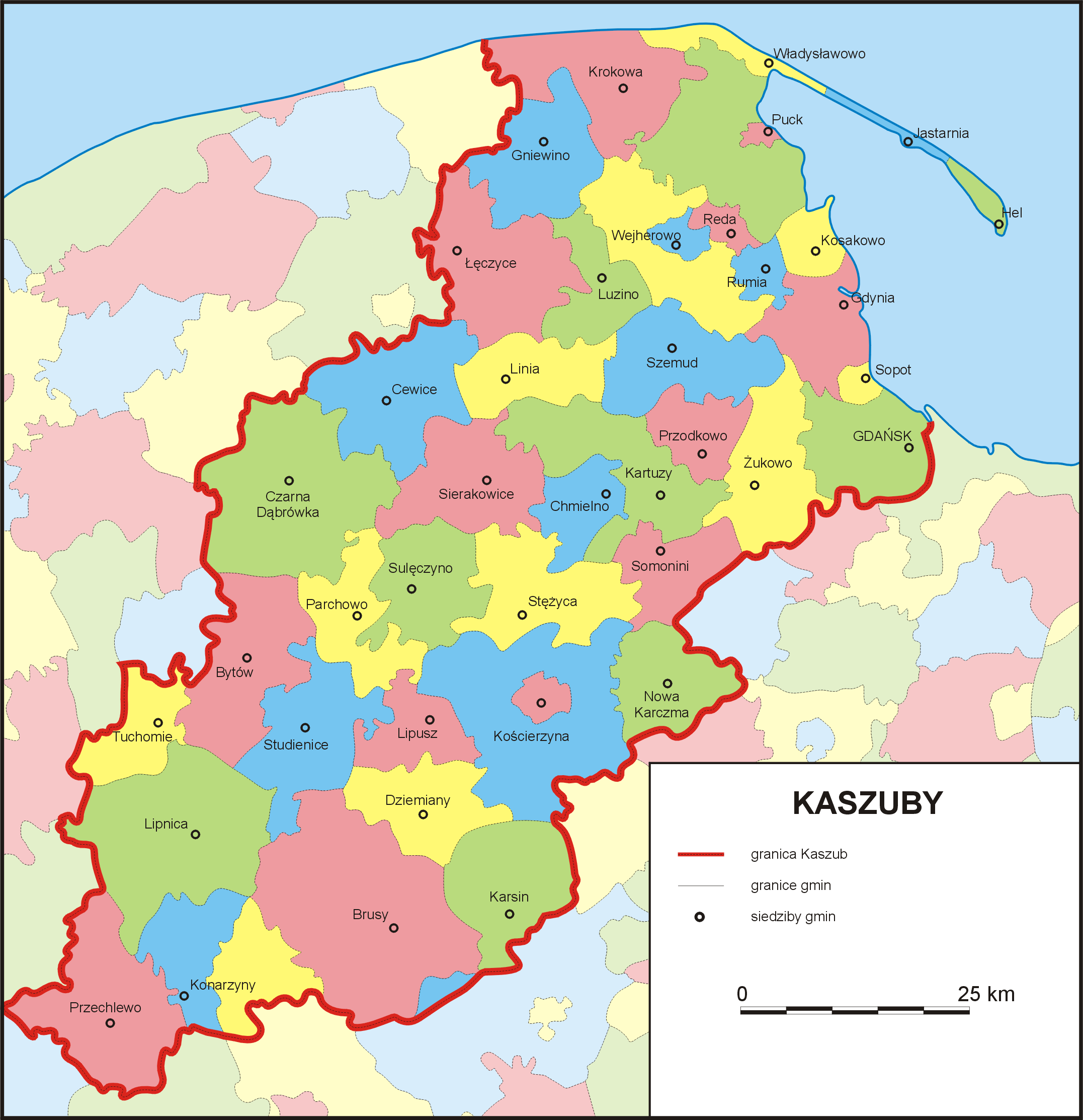 Kashubian districts, 1999, by Dr. Jan Mordawski